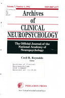 Archives of Clinical Neuropsychology Book