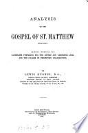 Analysis Of The Gospel Of St Matthew