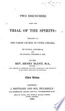 Two Discourses upon the Trial of the Spirits