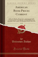 American Book Prices Current  Vol  25