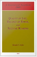 Quality of Life, Balance of Power and Nuclear Weapons, 2008 Pdf/ePub eBook