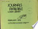 Journals Available in the ERDA Library