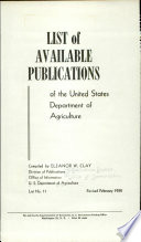List of Available Publications of the United States Department of Agriculture