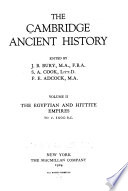 The Cambridge ancient history: The Egyptian and Hittite empires to c. 1000 B.C