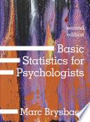 Basic Statistics  For Psychologists Book