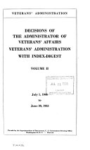 Decisions of the Administrator of Veterans  Affairs  Veterans Administration