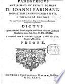 Panegyricus amplissimo et eximio domino D. Ioanni Farinart, monasterii Cambronensis abbati ... dictus quum sacerdotij sui&religiosæ professionis iubilęum celebraret, etc