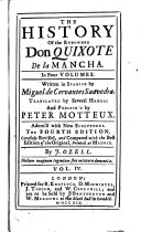 The History of the Renowned Don Quixote de la Mancha      by Miguel de Cervantes Saavedra  Translated by Several Hands  and Publish d by Peter Motteux  Adorn d with New Sculptures
