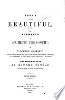 Essay On The Beautiful Etc Or Element Of Aesthetic Philosophy