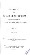 Records of the Borough of Nottingham: 1485-1547