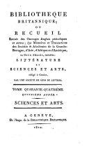 Bibliotheque britannique, ou recueil extrait des ouvrages anglais périodiques et autres..