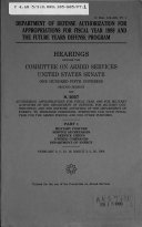 Department of Defense Authorization for Appropriations for Fiscal Year 1999 and the Future Years Defense Program