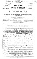 American Book Circular  Wiley and Putnam  Classified list of some of the most important     American publications  April 1843