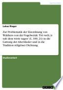 Zur Problematik der Einordnung von Walthers von der Vogelweide 'Frô welt, ir sult dem wirte sagen'