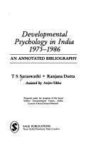 Developmental Psychology In India 1975 1986