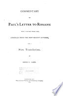 Commentary on Paul s Letter to Romans Book