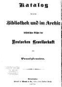 Katalog der in der Bibliothek und im Archiv befindlichen B  cher der Deutschen Gesellschaft von Pennsylvanien