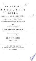 Caii Crispi Sallustii opera..., Opera