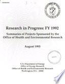 Research in Progress, FY 1992