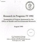 Research in Progress  FY 1992
