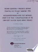 Accelerated/abbreviated Test Methods, Study 4 of Task 3 (encapsulation) of the Low-cost Silicon Solar Array Project