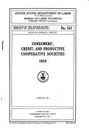 Consumers', Credit, and Productive Cooperative Societies, 1929. February, 1931