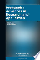 Propanols Advances In Research And Application 2011 Edition Book PDF