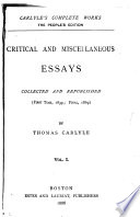 Critical and Miscellaneous Essays