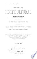 Colorado Horticultural Report for the Years 1882, 1883 and 1884