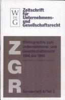 Bibliographie zum Unternehmens- und Gesellschaftsrecht 1986 bis 1995