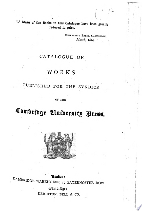 Catalogue of Works Published for th