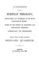 A Catalogue of Works on European Philology