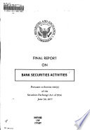 Final Report on Bank Securities Activities