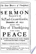 The Great Duty Of Thankfulness A Sermon On Rom I 21 Preach D December 2d 1697 Being The Day Of Thanksgiving For The Peace
