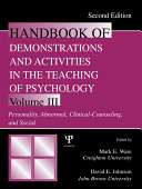 Handbook of Demonstrations and Activities in the Teaching of Psychology  Second Edition