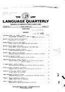 University of South Florida Language Quarterly