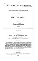 Critical Annotations  Additional and Supplementary  on the New Testament