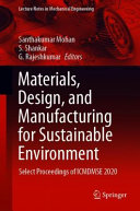 Materials  Design  and Manufacturing for Sustainable Environment Book