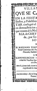 Villancicos que se cantaron en la Fiesta, que el... Braço militar consagró el dia 11.de Abril 1693.en demonstracion del tierno amor, con que venera à su Nobilissima Hija S.Maria de Cervellon...Por el licenciado Juan Barter... ebook