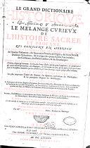 Le grand dictionaire historique ou le mélange curieux de l'histoire sacrée et profane