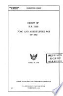 Digest of H.R. 11222, Food and agriculture act of 1962