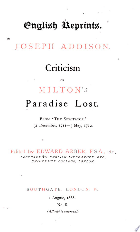 Criticism+on+Milton%27s+Paradise+lost