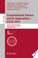 Computational Science and Its Applications – ICCSA 2016