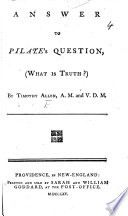 Answer to Pilate s Question  What is Truth