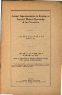 Animal Experimentation in Relation to Practical Medical Knowledge of the Circulation