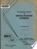 Proceedings of a Seminar on Computer Applications in Hydrology