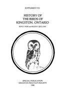 Supplement to History of the Birds of Kingston  Ontario