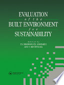 Evaluation Of The Built Environment For Sustainability Book PDF