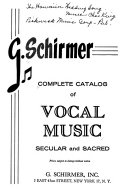 Complete Catalog of Vocal Music, Secular and Sacred