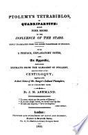Ptolemy s Tetrabiblos  Or Quadripartite